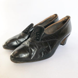 Original 1930s Black Leather and Suede Court Shoes - UK 4 4.5