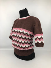 Load image into Gallery viewer, Reproduction 1940s Jumper in Stripes of Brown, Pink and Cream - B 36 38 40