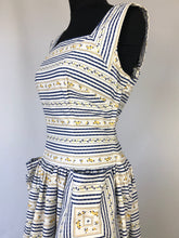 Load image into Gallery viewer, 1950s Blue and White Stripe Floral Dress - B36