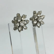 Load image into Gallery viewer, Original 1940s 1950s Claw Set Clear Paste Flower Clip on Earrings