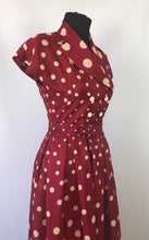 Load image into Gallery viewer, 1940s 1950s Marie Moore Red & White Polka Dot Grosgrain Silk Dress - B32