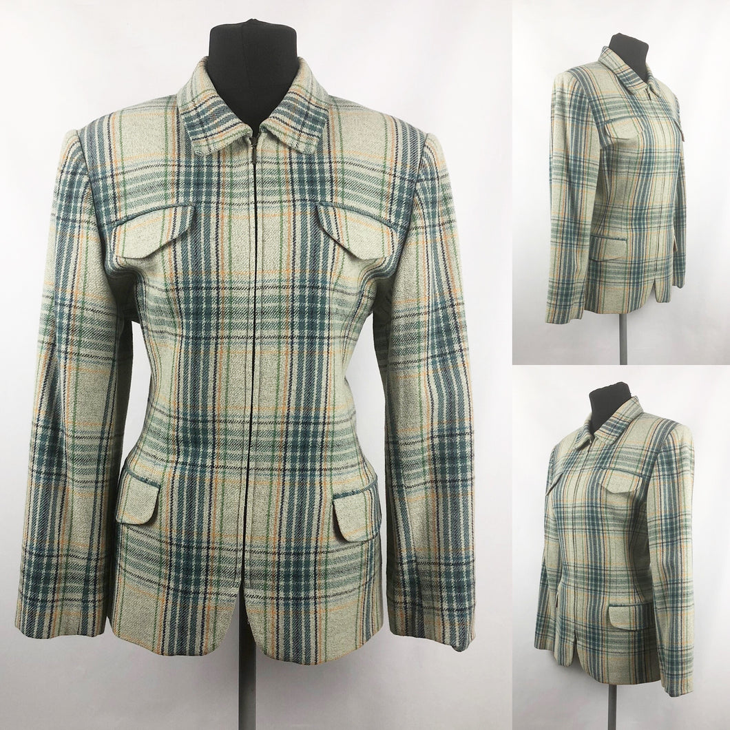 Vintage Zip Front Jacket in Green, Yellow and Navy Check - B38 40