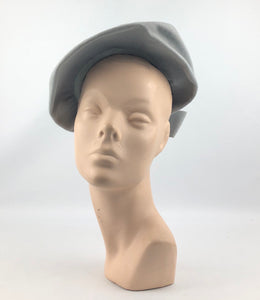 1940s Dove Grey Felt Hat with Bow Trim