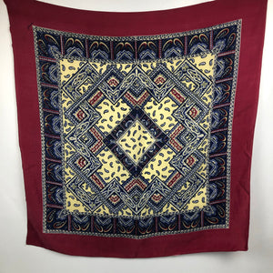 1940s Gaywear Burgundy Crepe Scarf with Paisley Design