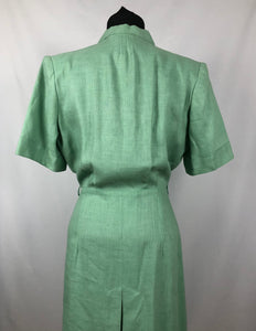 1940s Deadstock CC41 Pistachio Green Moygashel Utility Dress - B44