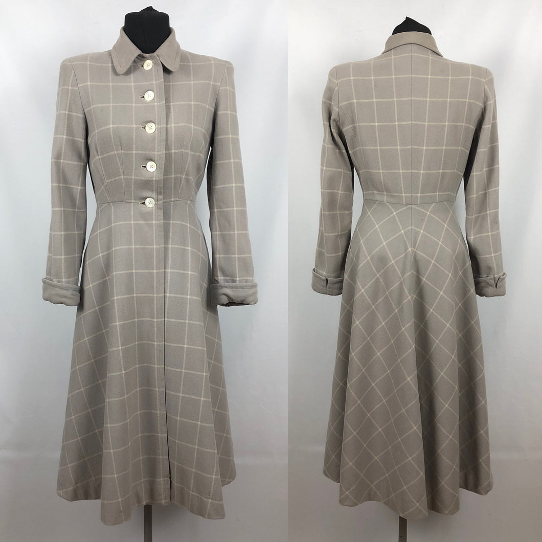 1940s 11011 Grey and Cream Fit and Flare Check Coat - Bust 34