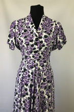 Load image into Gallery viewer, Wounded But Wearable 1940s Black, Purple and White Dress - B36
