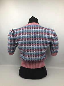 Reproduction 1940s Waffle Stripe Jumper Knitted from a Wartime Pattern - B38 40 42