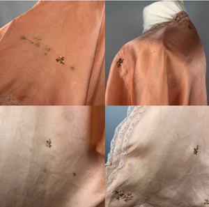 "1920s Apricot Coloured Pure Silk Bed Jacket with Floral Embroidery -  Bust 36"" 38"" 40"""