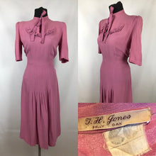 "Load image into Gallery viewer, CC41 Rose Pink Crepe Day Dress - Bust 34"" 36"""