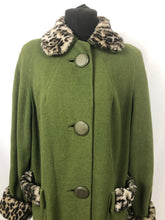 Load image into Gallery viewer, 1950s Green Wool Coat with Faux Fur Leopard Print Trim 38 40 42
