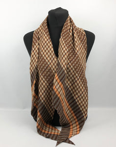 1930s 1940s Plaid Wool Pointed Cravat - Vintage Scarf