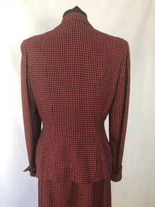 1940s Black and Red Check Suit in Fine Wool - 36 38