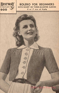 1940s Style Hand Knitted Bolero in Green - B34 36
