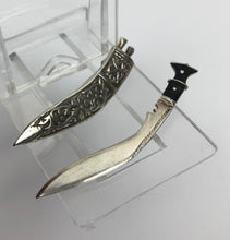 Load image into Gallery viewer, 1940s Silver Sword and Scabbard Brooch