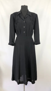 1940s Black Dress with Applique Detail - Bust 40 42
