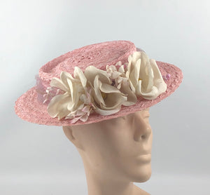 1940s Pink Straw Hat with Floral Trim and Net