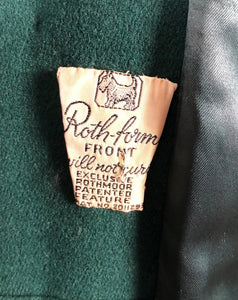1940s Green Wool Coat with Real Fur Collar Trim - Bust 38 48