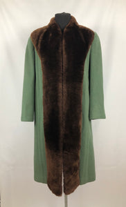 1940s Sage Green Wool Coat with Real Fur Collar Trim - Bust 38 40