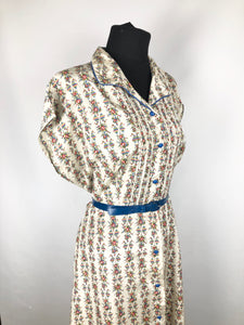 1940s Volup Red, Blue, Yellow & Green Floral Fruits of the Loom  Roses Dress - B42