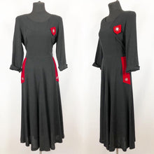 Load image into Gallery viewer, 1940s Black Crepe Dress with Red Velvet Trim and Paste Detail - Bust 36 37 38