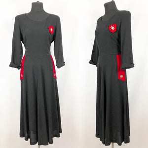 1940s Black Crepe Dress with Red Velvet Trim and Paste Detail - Bust 36 37 38