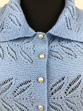 Load image into Gallery viewer, Original 1940s Cornflower Blue Lace Knit Cardigan with Glass Buttons - Bust 36