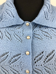 Original 1940s Cornflower Blue Lace Knit Cardigan with Glass Buttons - Bust 36