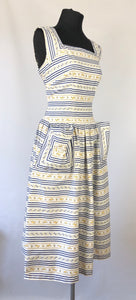 1950s Blue and White Stripe Floral Dress - B36