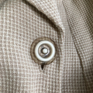 1940s Volup Wool Swagger Coat in Cream Check with Single Button - Bust 40 42 44