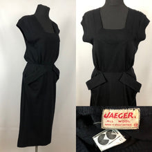 Load image into Gallery viewer, CC41 1940s Black Knitted Wiggle Dress by Jaeger - B34 35