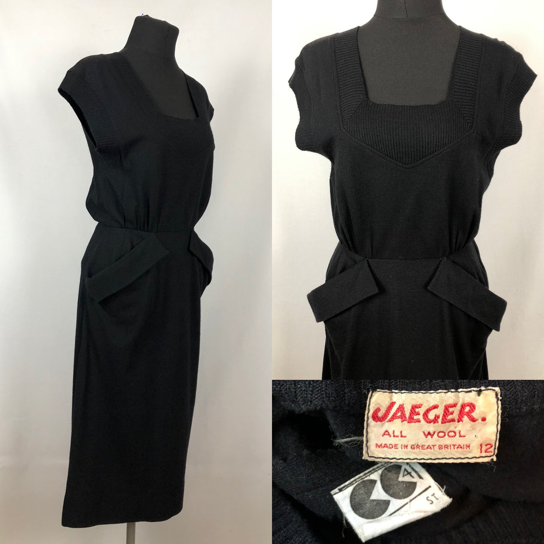 CC41 1940s Black Knitted Wiggle Dress by Jaeger - B34 35