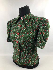 "1940s Reproduction Christmas Blouse in Riley Blake Cotton - Bust 34"" 36"""