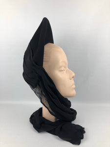 Exceptional 1940s Inky Black Felt Hat with Black Chiffon Scarf