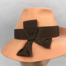 Load image into Gallery viewer, 1930s or 1940s Apricot Felt Fedora with Brown Grosgrain Trim
