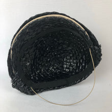 Load image into Gallery viewer, 1930s Black and White Lacquered Straw Hat with Feather Trim
