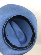 Load image into Gallery viewer, 1930s Cornflower Blue Felt Fedora Hat with Black Grosgrain Trim