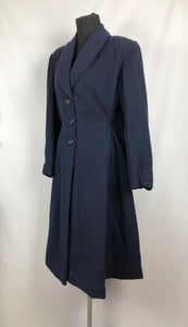 1940s Volup Fit and Flair Princess Coat in Navy Wool - Bust 38 40 42