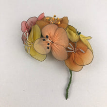 Load image into Gallery viewer, Vintage Pastel Coloured Chiffon and Wire Floral Corsage