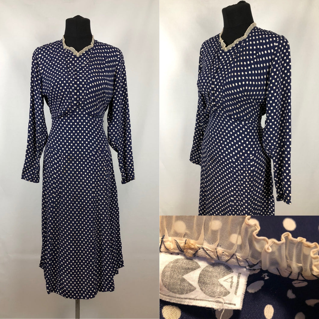 1940s CC41 Classic Navy and White Polka Dot Dress - Bust 34