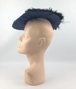 1940s Royal Blue Straw Hat with Black Ostrich Feather Trim