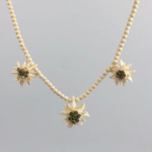 Vintage 1930s 1940s Carved Triple Edelweiss Necklace