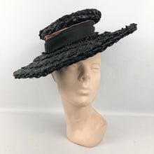 Load image into Gallery viewer, 1930s Black Lacquered Raffia Wide Brimmed Sun Hat