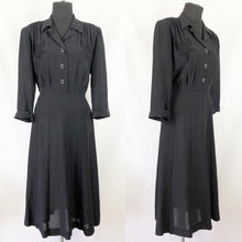 Load image into Gallery viewer, 1940s Black Dress with Applique Detail - Bust 40 42
