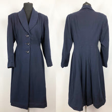 Load image into Gallery viewer, 1940s Volup Fit and Flair Princess Coat in Navy Wool - Bust 38 40 42