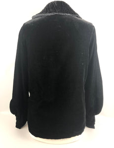 1920s 1930s Black Cotton Velvet Evening Jacket with Ruched Collar B34 36