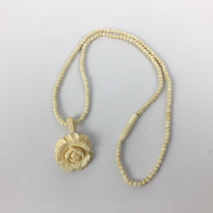 "1930s 1940s Carved Bovine Bone Rose Pendant and Necklace - 16"" long"