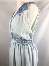 Load image into Gallery viewer, 1940s 1950s Ice Blue Rayon and Lace Nightdress with Bows - B36