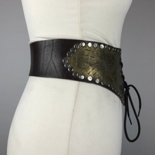 Load image into Gallery viewer, Original Vintage Brown Leather and Metal Laced Waist Cincher Belt - Steam Punk - Waist 27""