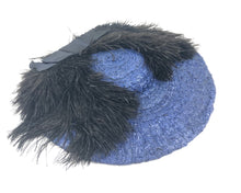 Load image into Gallery viewer, 1940s Royal Blue Straw Hat with Black Ostrich Feather Trim
